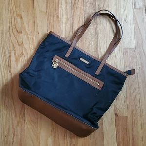 Michael Kors Black Tan Nylon Tote Bag